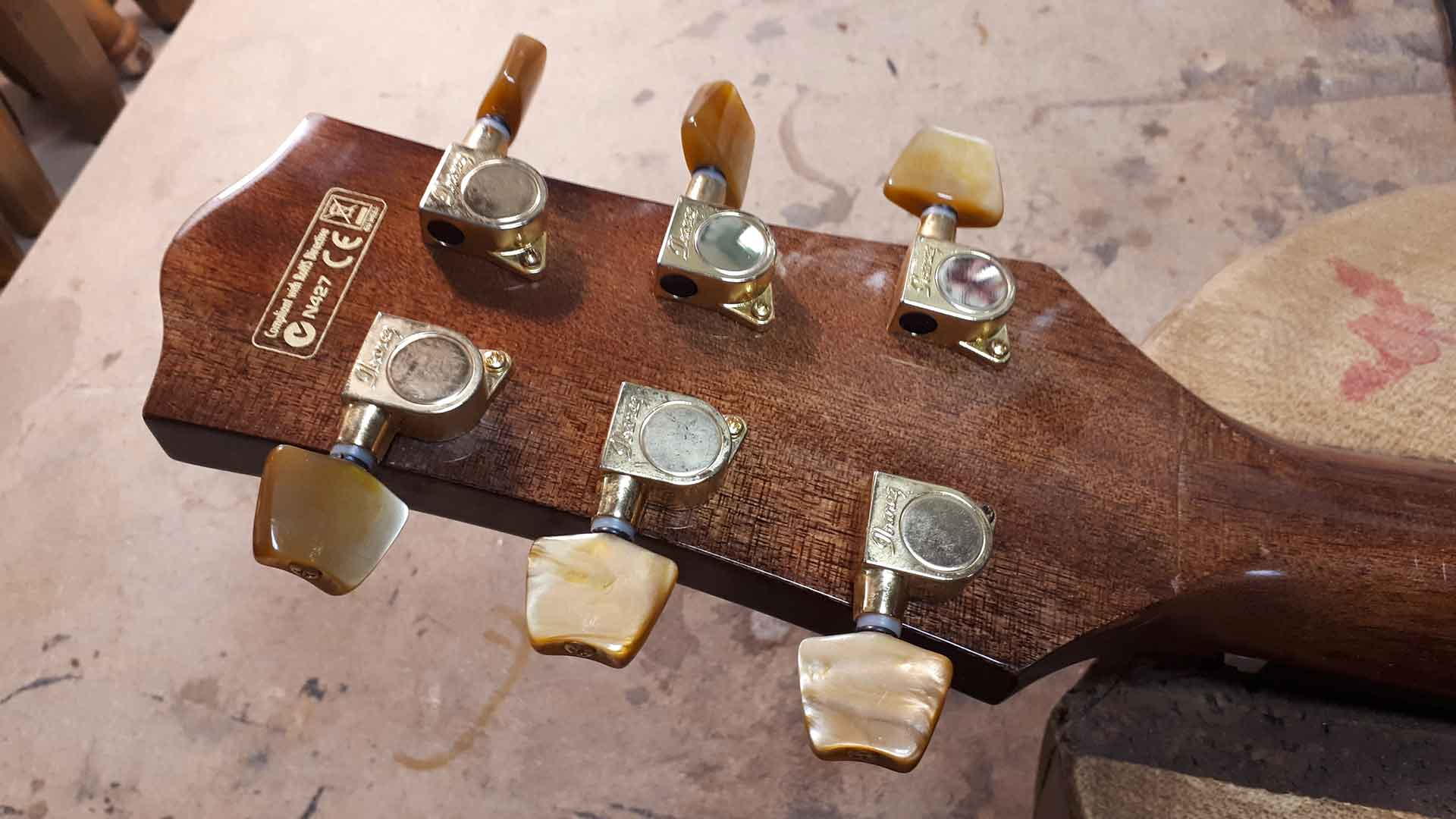 Broken headstock fixing on acoustic guitar no refinish before after